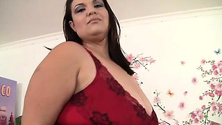 Horny Mexican plumper gets naked and rubs her chubby pussy
