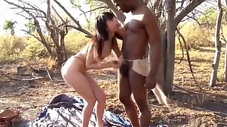 Crazy japanese girl gets fucked by african bushman