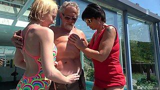 Darina and Ivana Kourilova share an old man to get their kicks