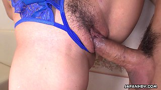 Japanese girl in electric blue underwear Koto Shizuku gets fucked and creampied
