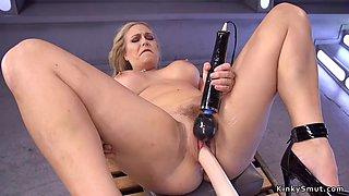 Huge tits milf anal fucks machine