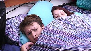 Cute hairy girlfriends fuck in the bedroom