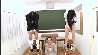 Nasty Asian teacher drinks a hot load of piss in classroom