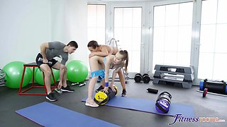 Cristal Caitlin & Lina Mercury in Buttplug workout and anal threesome - SexyHub
