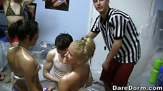 A college baby oil wrestling party at its best