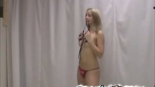 Adorable french teen in bikini gets naked on the cam