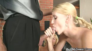 Her birthday ends up with family threesome