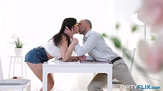 Charming brunette is making love with her new boyfriend