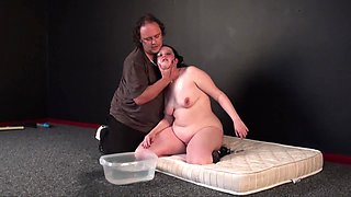 Chubby chick with a big butt gets punished by a perverted master