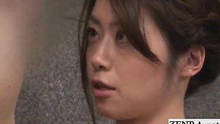 Subtitled Japanese sauna cougar masseuse gives blowjob