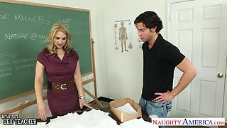 A curvy professor uses a young man for satisfying her sexual needs