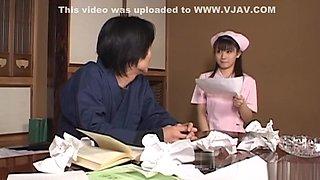 Japanese AV Model wild nurse gets hardcore fucking and cum on her tits