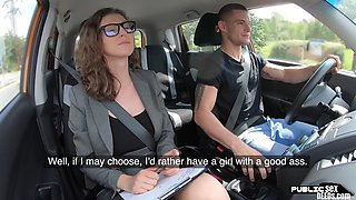 Euro road teacher rides cock outdoors after blowjob
