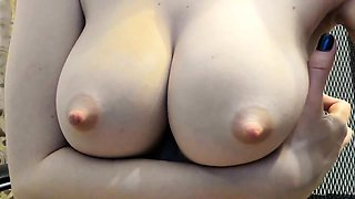 Sexy babe reveals her big nipples and pleases her hairy twat