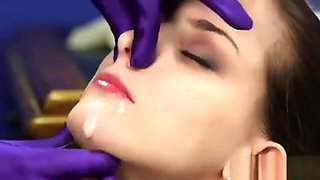 Spicy Doll Gets Sperm Load On Her Face Eating All The Load