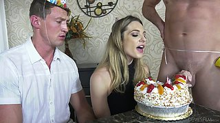 Slutty seductress Dahlia Sky is making love with two bisexual guys