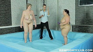 BBW wrestling match ends with lesbo toying and hardcore sex