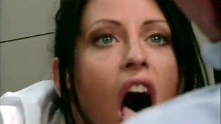 Skinny brunette secretary gets her ass fucked by her hung boss