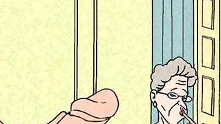 Granny anal sex animation