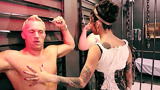 Hot mistress loves to experiment on her man in her laboratory