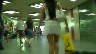 Sexy hidden camera up skirt video in the public place