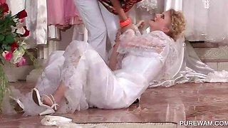 WAM lesbo in bride dress gets wet