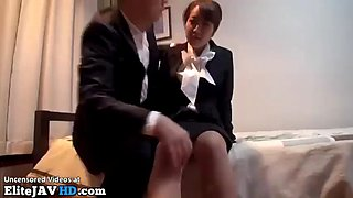 Japanese new hostess fucked by her boss