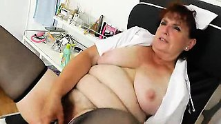 Eager head practical nurse playing with herself in her