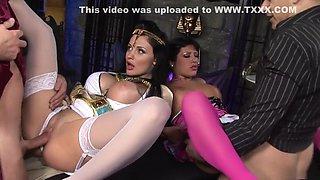 Hottest pornstars Aletta Ocean and Amanda Bleack in exotic lingerie, big tits xxx movie