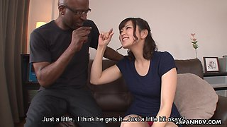 Japanese girl Tomoka Sakurai shows her dripping pussy to black man