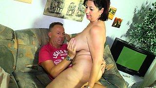 XXX Omas - German granny Liana B. gets cum on tits after sex