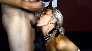 Submissive babe sucks a cock and swallows a hot load of cum