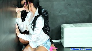 Gloryhole bukkake babes in glasses cumcovered