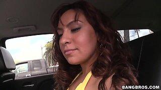 Hot ass latina Eva teases and seduces blodne stud