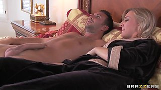 Busty milf with blonde hair strips and makes deepthroat