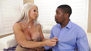 Voluptuous scorcher Alura Jenson enjoying some huge black cock in her ass