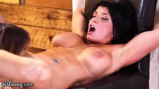 Two killing hot babes Romi Rain and Kristen Scott make each other cum