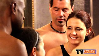 Couples get together in the hot tub for steamy foreplay