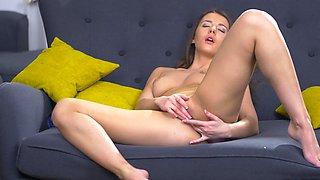 Lonely girl has to masturbate reaching wonderful orgasm