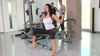 Kira Queen DPed by two ckocks in gym