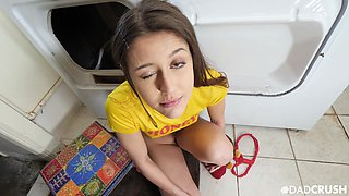 Instead of laundry charming girlfriend Catalina Ossa gets poked from behind