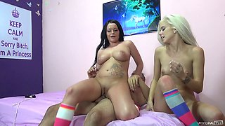 Adorable tattooed cowgirl in glasses getting the pleasure of vibrator then pounded doggystyle
