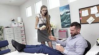 Wild crazy secretary just wants to be full of hard cock