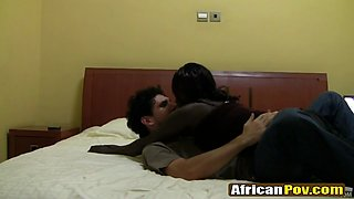 Interracial couple making a suck and fuck session on a french bed