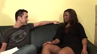 Hot mature ebony babe in an interracial group sex
