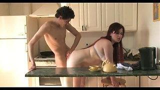 Milf has sex in the kitchen