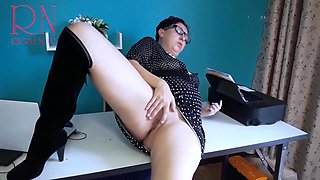 Sexretary No Panties Secretary With Black Dress Heels Security Cam In The Office