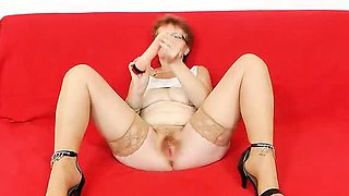 Jindriska banging her haired snatch in stockings and heels