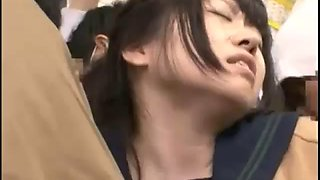 Schoolgirls molested and squirt in bus