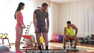Two guys bangs fitness teen coach